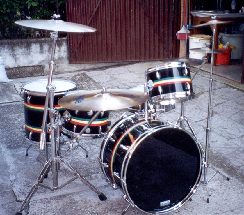 Gretsch black nitron with jamaican stripes circa 1974 75 for 16 x 12 floor tom